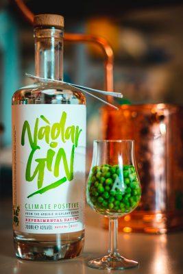 Nadar Ginの瓶と、緑色の豆が入れられたグラス